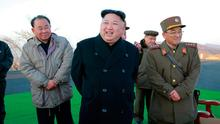 North Korean leader Kim Jong-un supervises a ballistic rocket launching drill of Hwasong artillery units in this photo released by North Korea in Pyongyang on Tuesday Picture: Reuters