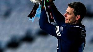 Dublin captain Stephen Cluxton lifts the Delaney Cup (for the 10th time in a row) following their victory in the Leinster SFC final over Meath at Croke Park on Saturday