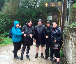 Mags, Andrea, Harry, Frances and Cathy - the 'Remedial Class' on the Camino