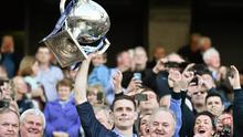 Stephen Cluxton lifts the Allianz league trophy after Dublin's Division 1 victory over Derry last year