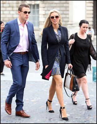 Pictured at the Humanist Service in the Examination Hall of Trinity College Dublin for Paolo Tullio was Rosanna Davison and Husband Wesley Quirke