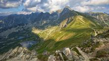 View from Kasprowy Wierch in High Tatra Mountains just before sunset, Poland