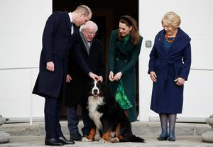 Britain's Prince William and his wife Kate Middleton meet with President Michael D. Higgins, his wife Sabina and their dog at Aras an Uachtarain REUTERS/Phil Noble/Pool