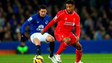 Jordon Ibe of Liverpool controls the ball during the Barclays Premier League match between Everton and Liverpool at Goodison Park