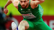 Gerard O'Donnell of Ireland competes in the Men's 60 metres Hurdles rounds during day one of the 2015 European Athletics Indoor Championships