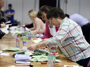 Count Staff sort out the ballot papers in both the Marriage Equality Referendum and the  Presidential Age Referendum  in the RDS Simmonscourt . Pic Frank Mc Grath