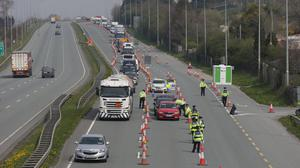Clampdown: A Garda checkpoint on the M7 motorway due to Covid- 19 restrictions. Photo: Damien Eagers Photography