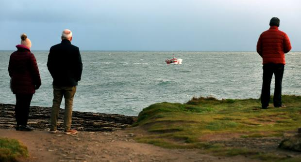 A fishing vessel takes part in the search for the missing trawler off Co Wexford. Photo: Steve Humphreys