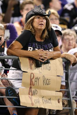 Baltimore Ravens fan shows her support for former player Ray Rice during the game against the Pittsburgh Steelers at M&T Bank Stadium. Mandatory Credit: Mitch Stringer-USA TODAY Sports