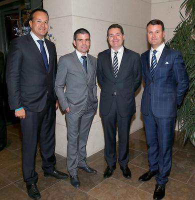 Minister for Health Leo Varadkar, Bernard Dunne, Minister for Sport Paschal Donohoe, and Nicky Logue