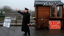 GO SLOW: A mock customs post at Ravensdale, Co Louth, last week where campaigners highlighted concerns about Brexit's impact on cross-border trade. Photo: Niall Carson