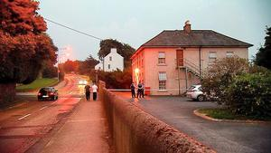 Gardai at the scene of the incident in Waterford. Photo: Damien Tiernan/RTE.