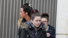 Lisa Nevin pictured leaving court with family and friends (Pic Collins Courts)