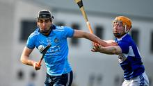Dublin's Ronan Hayes in action against Pádraig Delaney of Laois during the Allianz Hurling League Division 1 Group B Round 2 match at Parnell Park in Dublin. Photo: Brendan Moran/Sportsfile