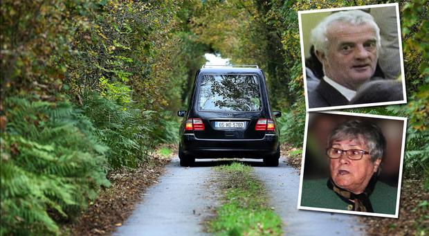 Main: A hearse drives up a sealed-off road towards the Fitzgeralds' home in Knockadoon, Co Mayo. Photo: Steve Humphreys; Insets: Tom Fitzgerald and his wife Kitty