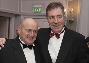 Peter Clohessy and Donal Lenihan attend Ronan O'Gara's Testimonial Dinner in The Park Lane Hilton in Central London. Photographer: Will Oliver
