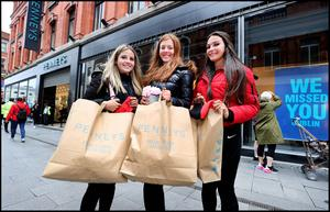 Sophie Drumgoole (17) , Robyn Gavin (17) and Clodagh Cummins (17) all from Beaumont at the re opening of Penneys Store on Mary Street in Dublin. Photo by Steve Humphreys