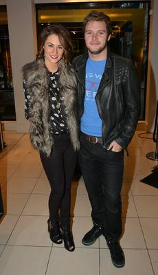 Transformers: Age of Extinction actor Jack Reynor at Brown Thomas with girlfriend Madeline Mulqueen as a guest on Ryan Tubridy's 2FM radio show broadcasting live from Brown Thomas, Dublin, Ireland - 27.11.13. Pictures: Cathal Burke / VIPIRELAND.COM *** Local Caption *** Madeline Mulqueen, Jack Reynor