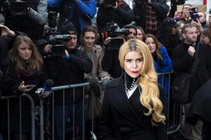 British singer Paloma Faith arrives for the recording of the Band Aid 30 charity single in west London November 15, 2014. Singers came together to record a new version of the Band Aid charity song to raise money to combat Ebola in Africa.