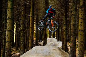 Enduro mountain bike rider and Red Bull athlete Greg Callaghan takes his local trails at Glencullen Adventure Park by storm as he returns to training. Photo: Ramsey Cardy/Sportsfile
