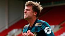 Leeds United's Patrick Bamford celebrates scoring the winner. Photo: PA
