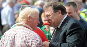 22 September 2013; Former Taoiseach Brian Cowen in conversation with a Mayo supporter ahead of the GAA Football All-Ireland Championship Finals, Croke Park, Dublin. Picture credit: Brian Lawless / SPORTSFILE