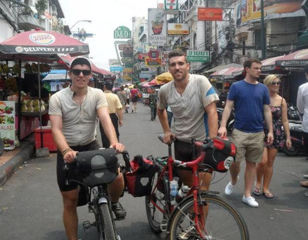Aidan Murphy and Paul Quinn in Asia on on their cycle to Oz trip.
