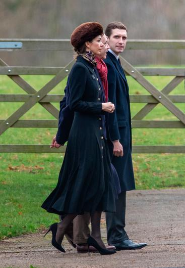 Rose Hanbury the Marchioness of Cholmondeley arrives to attend a morning church service at St Mary Magdalene Church in Sandringham, Norfolk