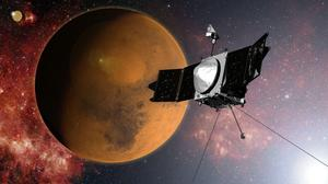 MAVEN's 442 million mile journey from Earth will culminate with a dramatic engine burn, pulling the spacecraft into an elliptical orbit. It's designed to circle the planet, not land. (AP Photo/NASA)