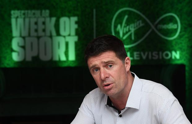Virgin Media pundit Niall Quinn is pictured during the Virgin Media Televisions Spectacular Week of Sport event at The Alex Hotel in Dublin. Photo: Stephen McCarthy/Sportsfile
