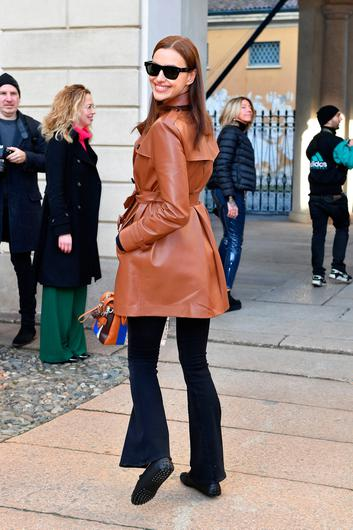 Irina Shayk attends the Tod's show at Milan Fashion Week Autumn/Winter 2019/20 on February 22, 2019 in Milan, Italy. (Photo by Jacopo Raule/Getty Images for Tod's)