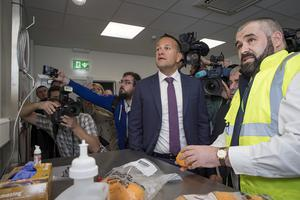 Taoiseach Leo Varadkar with Shane Kirk Assistant Agriculture Inspector, Horticulture and Plant Health, at Dublin port to view the new Brexit infrastructure. Picture: Arthur Carron