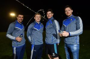Colin Walshe with Monaghan team-mates (from left) Drew Wylie, Darren Hughes and Conor McManus at the announcement that Celtic Pure is to be the official water partner to his county's senior football team. Photo: Ramsey Cardy/Sportsfile