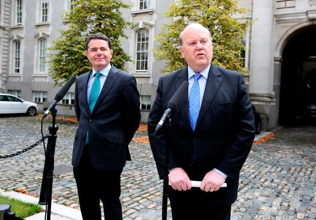 Finance minister Michael Noonan,TD and Paschal Donohoe,TD,the minister for Public Expenditure. Pic Tom Burke