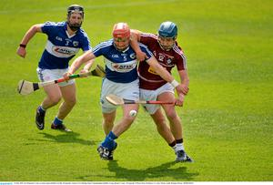 24 May 2015; Joe Fitzpatrick, Laois, in action against Robbie Greville, Westmeath. Leinster GAA Hurling Senior Championship Qualifier Group, Round 3, Laois v Westmeath. O'Moore Park, Portlaoise, Co. Laois. Picture credit: Brendan Moran / SPORTSFILE