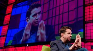 Mark Little, Founder & CEO, Storyful, discusses The Role of Social Media in News Reporting  on the centre stage during Day 2 of the 2014 Web Summit in the RDS, Dublin, Ireland. Photo: Sportsfile
