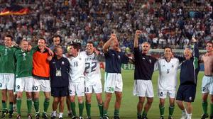 Republic of Ireland players, management and staff salute the supporters after the 1-1 draw against Germany at the 2002 World Cup Finals in Ibaraki, Japan. Picture credit: David Maher / SPORTSFILE