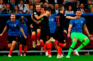 HEROES: Croatia's players celebrate beating England to reach their first World Cup Final. Photo: Getty Images