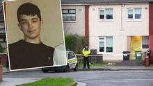 The scene of a fatal stabbing in Jobstown, Tallaght. Inset: Victim Reece Cullen