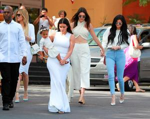 Kim Kardashian, Kanye West, Kris Jenner, Kendall Jenner, Kylie Jenner, Kourtney Kardashian, Khloe Kardashian, Tyga and Corey Gamble are seen at church for Easter on April 05, 2015 in Los Angeles, California.  (Photo by Bauer-Griffin/GC Images)