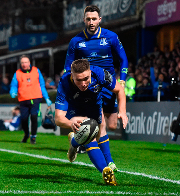 Leinster's Jordan scores his side's fifth try. Photo: David Fitzgerald/Sportsfile
