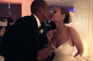 Beyonce and Jay Z on their wedding day in 2008 in a still from Lemonade.