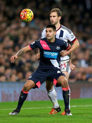 West Brom's Gareth McAuley and Newcastle's Aleksandar Mitrovic. Photo: Alex Morton / Action Images via Reuters