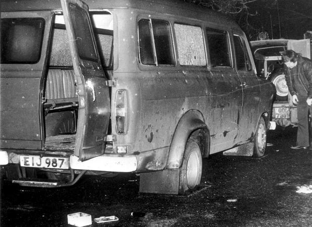 The bullet-riddled minibus in which 10 Protestant workmen were massacred near Kingsmill in South Armagh in 1976.