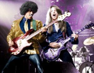 Phil Lynott (left), pictured on stage with Thin Lizzy.