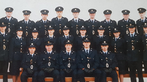 Gone before their time: The Class of '95, including Det-Gda Adrian Donohoe and Det-Gda Colm Horkan. Classmate John McCarthy, who is currently serving in west Cork, and remembers Colm Horkan as quiet and unassuming, is pictured in the middle row, far right, next to Det-Gda Horkan.
