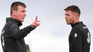 James McCarthy in conversation with Ireland boss Stephen Kenny yesterday. Photo: Sportsfile