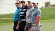 'Team McIlroy' in Abu Dhabi this week. From left: Michael Bannon (coach), JP Fitzgerald (caddie), Dr Steve McGregor (fitness) and Rory McIlroy