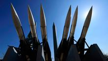 Replicas of a North Korean Scud-B missile (C) and South Korean Hawk surface-to-air missiles are displayed at the Korean War Memorial in Seoul. Photo: AFP/Getty