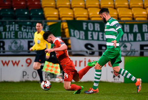 David Webster of Shamrock Rovers is adjudged by referee Jim McKell to have fouled Sean Maguire of Cork City in the box resulting in a penalty being awarded. Photo by David Maher/Sportsfile